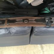 Bruine dressuursingel met elastiek 65cm