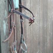 Roodbruin westernhoofdstel met Myler bit (D-ring, level 2)