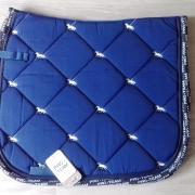 Zadeldekje / dekje, HKM, blauw met paardjes, maat full/dress