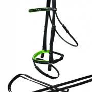 Hoofdstel Rider Pro onderlegd PUNCH - Zwart/Lime mini shet